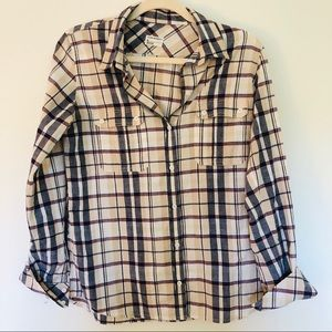Like New Club Monaco Plaid Roll Tab Sleeve Shirt